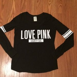 PINK Long sleeve Football Style Tee